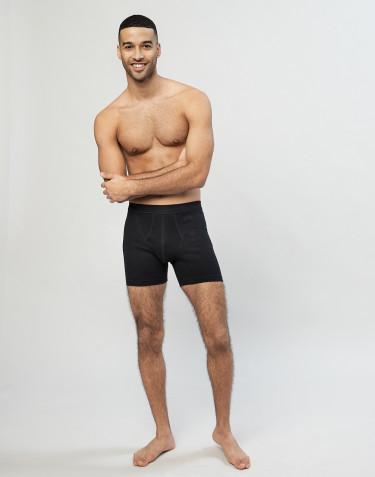 Ribbineulotut miesten puuvilla-alushousut sepaluksella musta