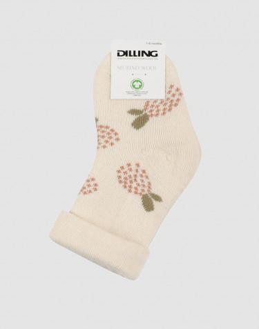Kukkakuvioiset vauvansukat - villafroteeta luonnonvärinen