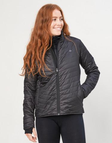 Naisten ulkoilutakki - kierrätettyä polyesteriä/merinovillaa musta
