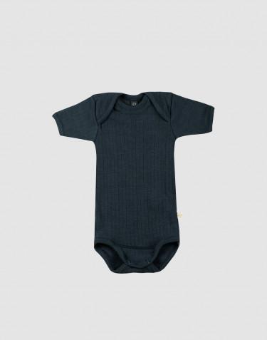 Vauvan ribbineulottu lyhythihainen villabody Tumma petrooli