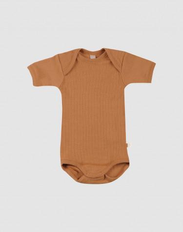 Vauvan ribbineulottu lyhythihainen villabody - Toffee