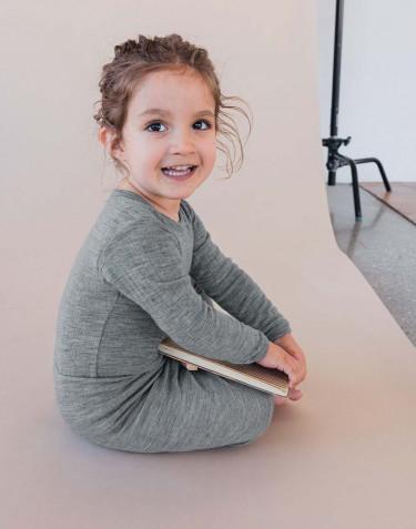 Ribbineulottu vauvan villabody Harmaameleerattu