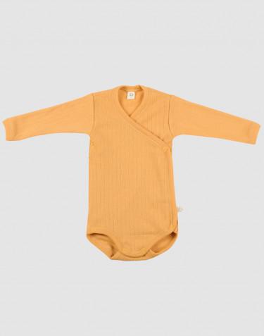 Vauvan kietaisubody ribbineulottua villaa Okrankeltainen