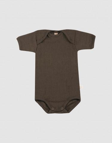 Vauvan ribbineulottu lyhythihainen villabody - Tummanruskea