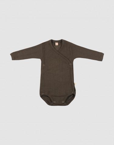 Vauvan kietaisubody ribbineulosta - Tummanruskea