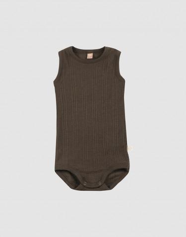 Hihaton vauvan villabody ribbineulosta -Tummanruskea