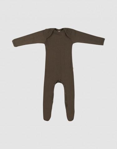 Vauvan potkupuku merinovillaa - Tummanruskea