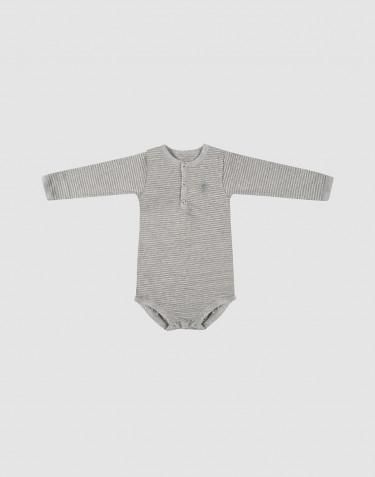 Pitkähihainen vauvan body ekopuuvillaa harmaa/raidallinen