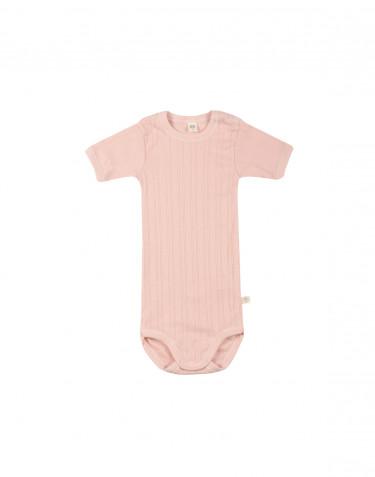 Lyhythihainen vauvan body ekologista puuvillaa roosa