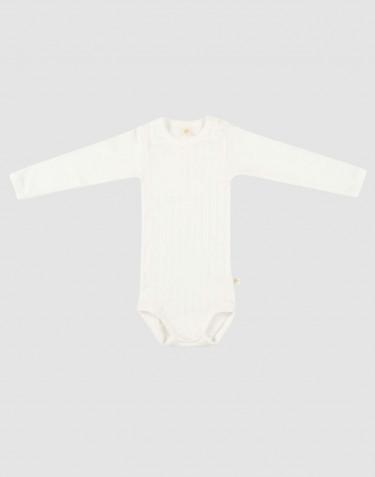 Pitkähihainen vauvan body ekologista puuvillaa valkoinen
