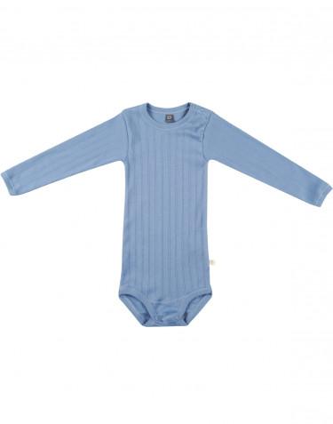 Pitkähihainen vauvan body ekologista puuvillaa sininen