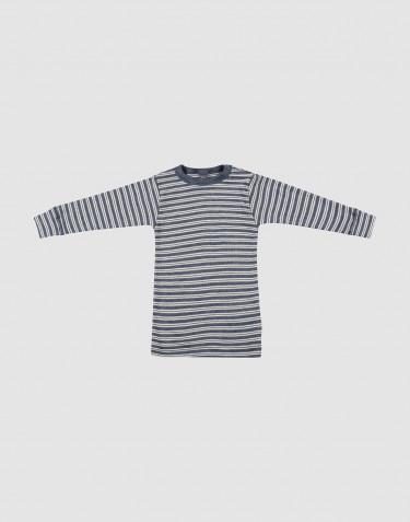 Vauvan pitkähihainen paita ekologista villasilkkiä meleerattu sininen/luonnonvalkoinen