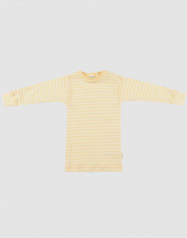 Pitkähihainen vauvan paita ekologista villasilkkiä vaaleankeltainen