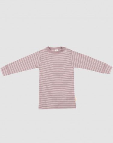 Vauvan pitkähihainen paita ekologista villasilkkiä pastellinroosa/luonnonvalkoinen