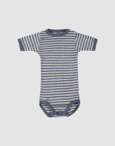 Lyhythihainen vauvan body ekologista villasilkkiä, meleerattu sininen/luonnonvalkoinen