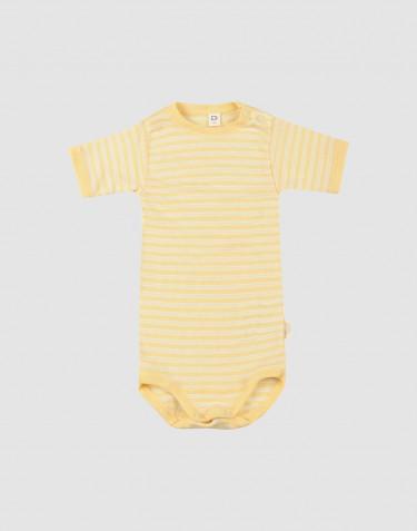 Lyhythihainen vauvan body ekologista villasilkkiä vaaleankeltainen