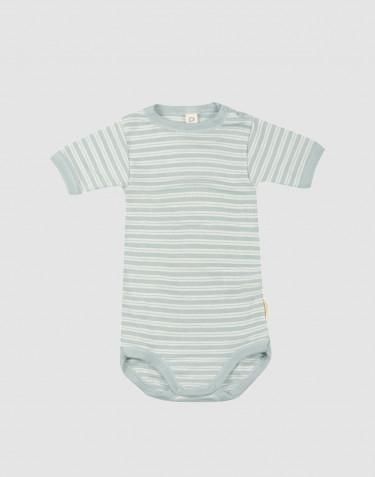 Lyhythihainen vauvan body ekologista villasilkkiä, pastellinvihreä/luonnonvalkoinen