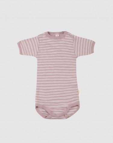 Lyhythihainen vauvan body ekologista villasilkkiä, pastellinroosa/luonnonvalkoinen