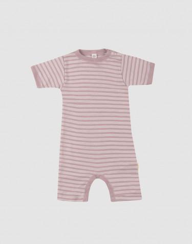 Vauvan kesäasu ekologista villasilkkiä pastellinroosa/luonnonvalkoinen