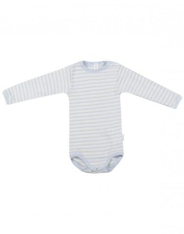 Vauvan pitkähihainen body ekologista villasilkkiä sininen/luonnonvärinen