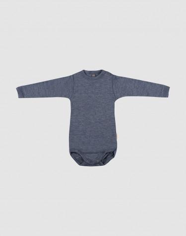 Pitkähihainen vauvan body ekologista villasilkkiä meleerattu sininen