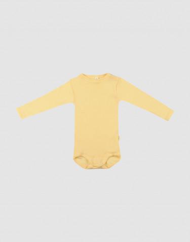 Vauvan pitkähihainen body ekologista villasilkkiä vaaleankeltainen