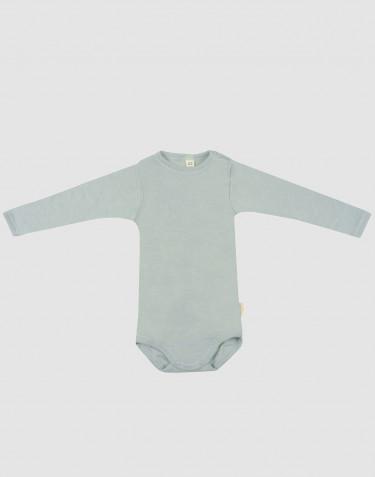 Pitkähihainen vauvan body ekologista villasilkkiä pastellinvihreä