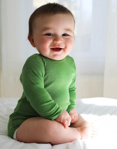 Vauvan pitkähihainen body merinovillasilkkiä