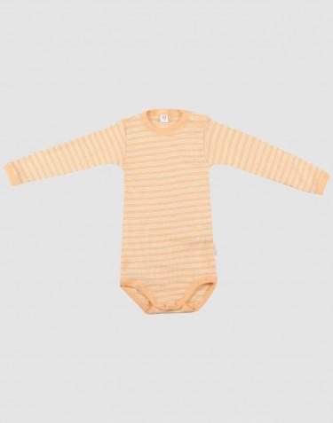 Vauvan pitkähihainen body ekologista villasilkkiä aprikoosi/luonnonvärinen