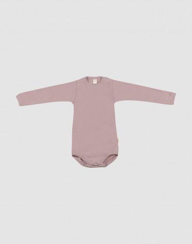 Pitkähihainen vauvan body ekologista villasilkkiä pastellinroosa
