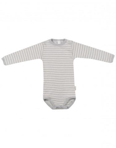Vauvan pitkähihainen body ekologista villasilkkiä harmaa/luonnonvärinen