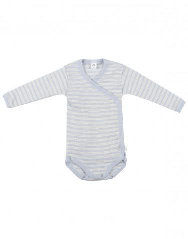 Vauvan kietaisubody ekologista villasilkkiä sininen/luonnonvärinen