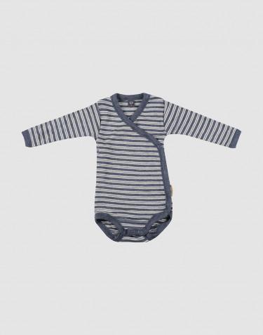 Vauvan kietaisubody ekologista villasilkkiä meleerattu sininen/luonnonvalkoinen