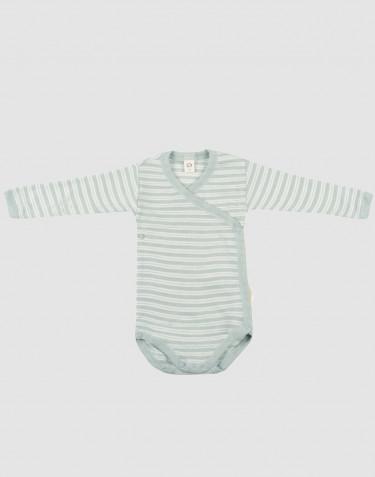 Vauvan kietaisubody ekologista villasilkkiä pastellinvihreä/luonnonvalkoinen