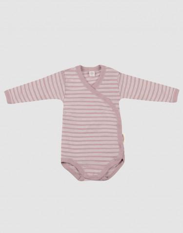 Vauvan kietaisubody ekologista villasilkkiä pastellinroosa/luonnonvalkoinen