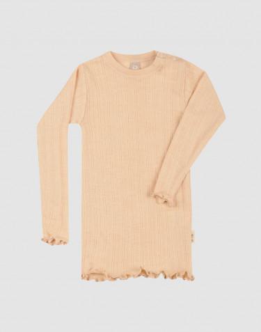 Vauvan pitkähihainen ribbineulottu Pointelle-paita merinovillasilkkiä