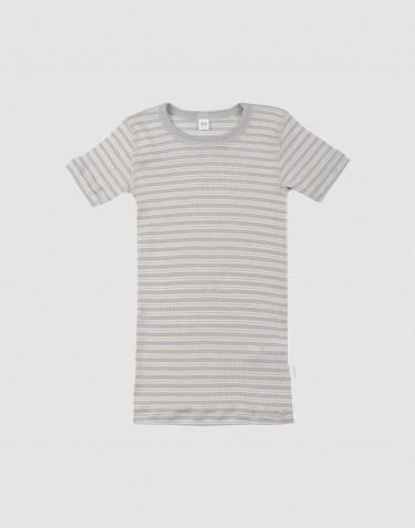 Lasten t-paita ekologista villasilkkiä harmaa/luonnonvärinen