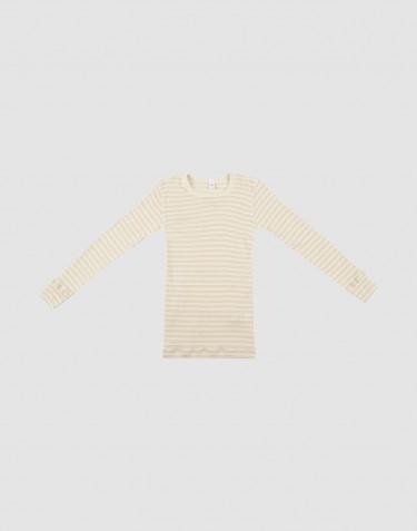 Pitkähihainen lasten paita ekologista villasilkkiä beige/luonnonvärinen