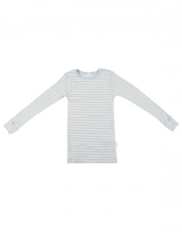 Pitkähihainen lasten paita ekologista villasilkkiä sininen/luonnonvärinen