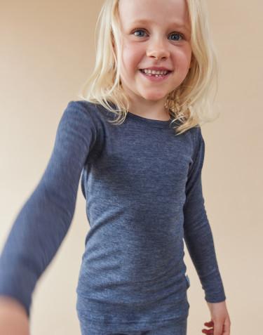 Lasten pitkähihainen paita ekologista villasilkkiä meleerattu sininen