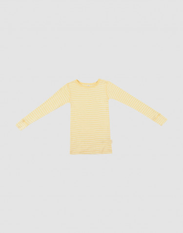 Lasten pitkähihainen paita ekologista villasilkkiä vaaleankeltainen