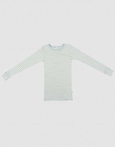 Lasten pitkähihainen paita ekologista villasilkkiä Pastellinvihreä/luonnonvärinen
