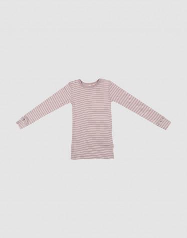 Lasten pitkähihainen paita ekologista villasilkkiä pastellinroosa/luonnonvärinen