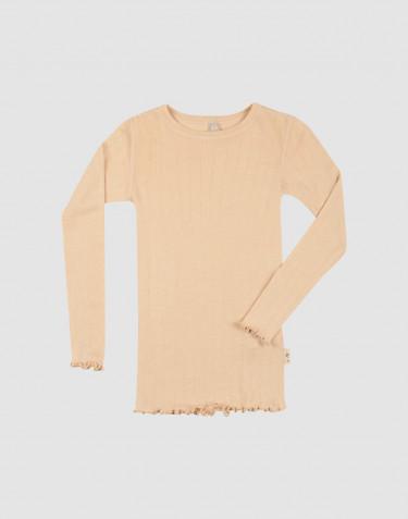 Lasten pitkähihainen pointelle-paita merinovillasilkkiä