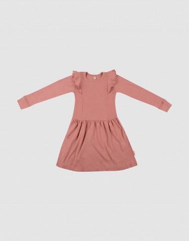 Lasten röyhelöinen villamekko - Roosa