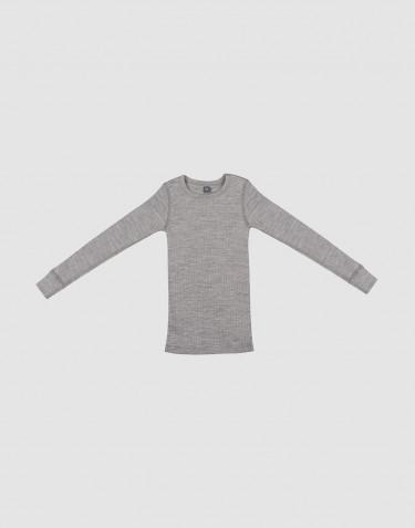 Lasten paita leveää ribbineulosta harmaameleerattu