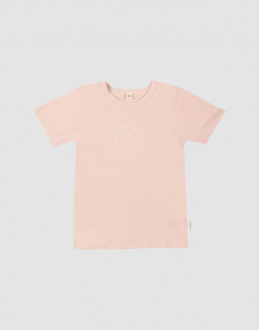 Lasten t-paita painatuksella ekopuuvillaa roosa