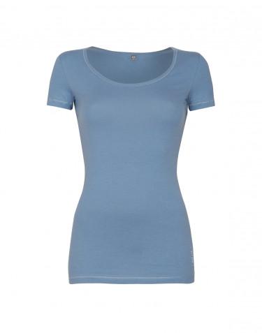 Miellyttävän pehmeä ja ohut t-paita puuvilla-elastaania sininen