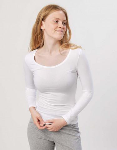 Pitkähihainen t-paita ekopuuvilla-elastaania valkoinen