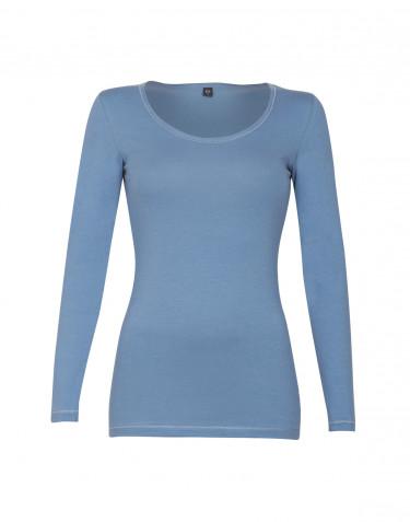 Pitkähihainen t-paita ekopuuvilla-elastaania sininen